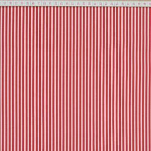 Tecido Cambraia Riscas Grossas Vermelhas com 3mm em Fundo Branco