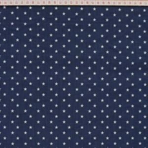 Tecido Cambraia com Estrelas Grandes em Branco com Fundo Azul Escuro Marinho
