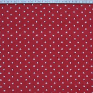 Tecido Cambraia com Estrelas Grandes em Branco com Fundo Vermelho