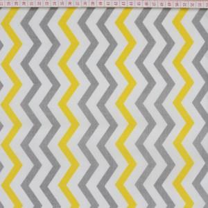 Tecido Cambraia Chevron Zigzag Cinzento, Amarelo e Branco