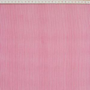 Tecido Cambraia Riscas Fininhas Rosa em Fundo Branco