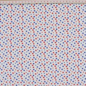 Tecido Cambraia com Estrelas em Azulão e Vermelho com Fundo Branco