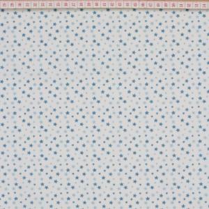 Tecido Cambraia com Estrelas em Azul com Fundo Branco