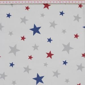 Tecido Cambraia com Estrelas em Azul, Vermelho e Cinzento com Fundo Creme