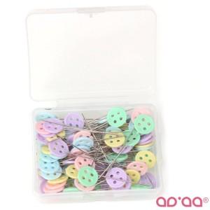 Caixa de Alfinetes Patchwork Botões com 100 alfinetes